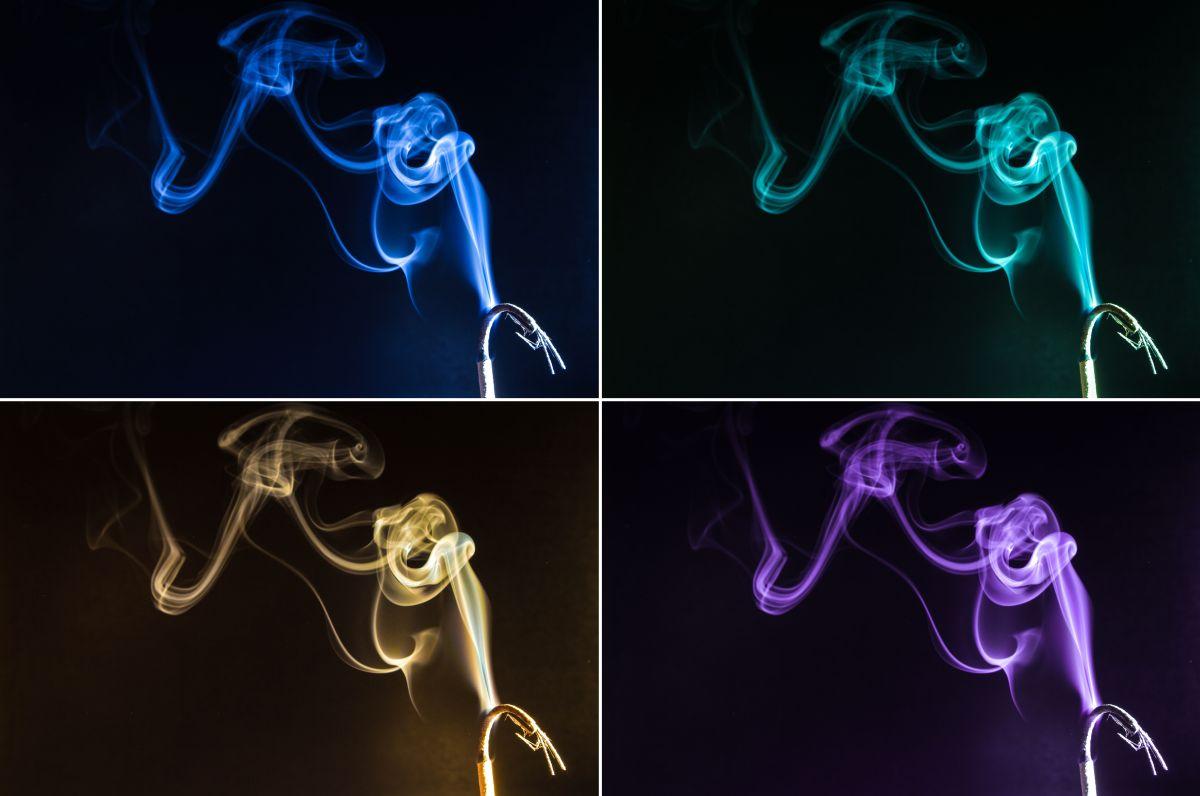 Vier verschiedenfarbige Räucherstäbchen-Fotografien